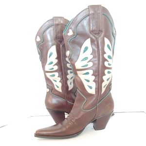 Nine west butterfly heeled cowboy boots